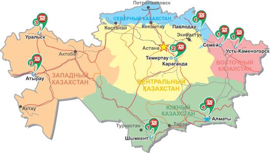 Карта шинных центров Казахстана